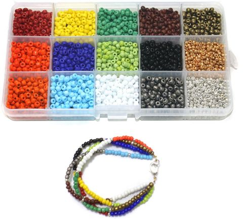 Jewellery Making Opaque & Metallic Seed Beads Kit[15 Colors]