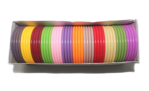 Beadsnfashion Acrylic Colorful Slim Bangles For Silk Thread Jewellery Making, Full Box 48 Pcs, Size 2.2