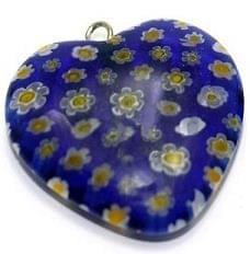 Milifiori Dark Blue Heart Pendant 25mm