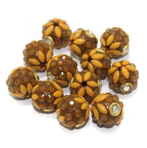 Takkar Work Round Beads 15mm Brown
