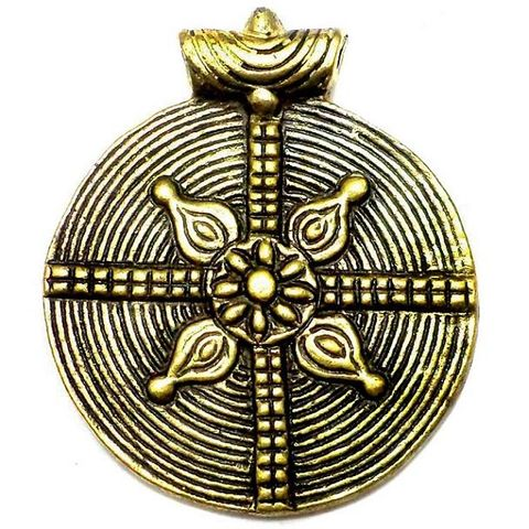 Antique Golden Metal Pendant 2.50 Inch