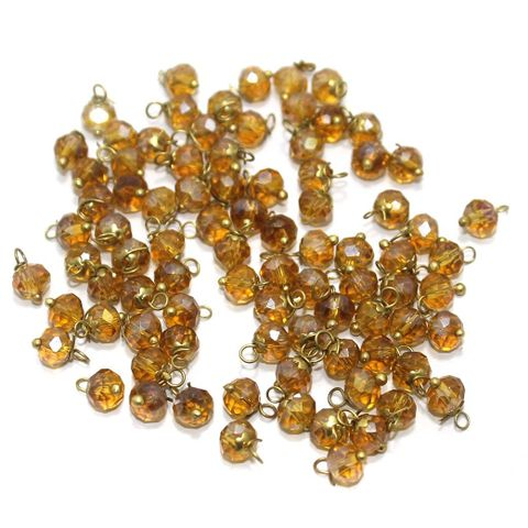 Faceted Loreal Beads Trans Golden 200 Pcs 4mm