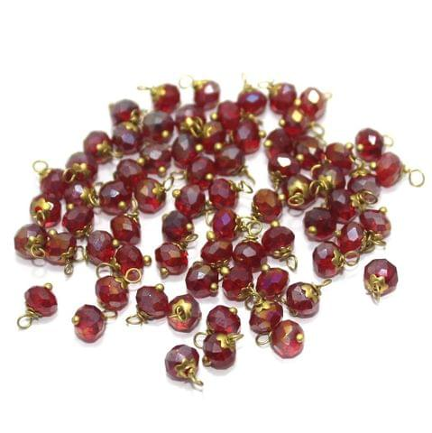 Faceted Loreal Beads Trans Red 200 Pcs 4mm