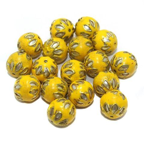 Meenakari Round Beads 12mm Yellow