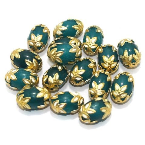 Meenakari Oval Beads 15x10mm Teal