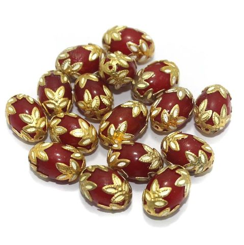 Meenakari Oval Beads 15x10mm Red