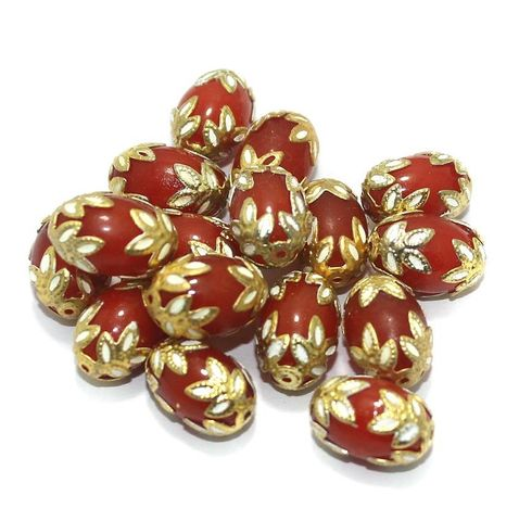 Meenakari Oval Beads 15x10mm Orange