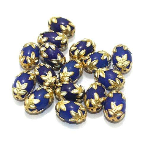 Meenakari Oval Beads 15x10mm Blue