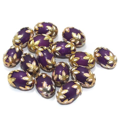 Meenakari Oval Beads 15x10mm Purple