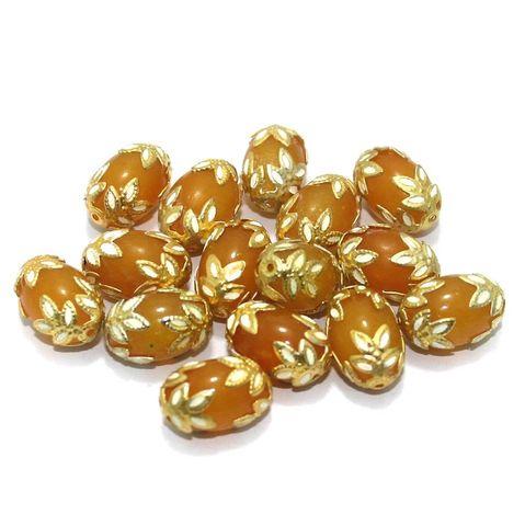 Meenakari Oval Beads 15x10mm Yellow