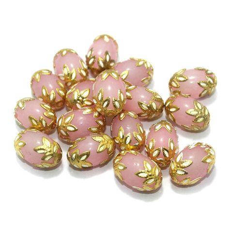 Meenakari Oval Beads 15x10mm Pink