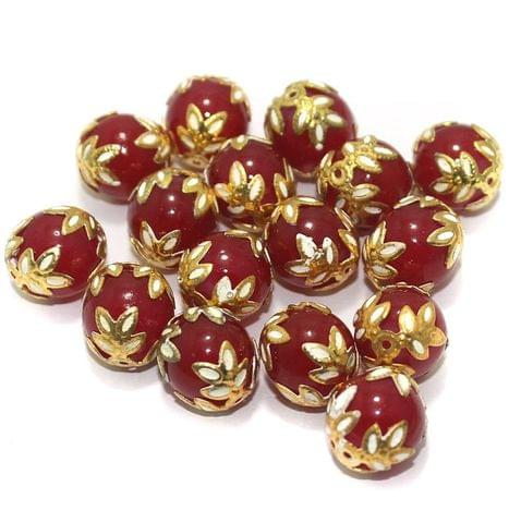 Meenakari Round Beads 12mm Red