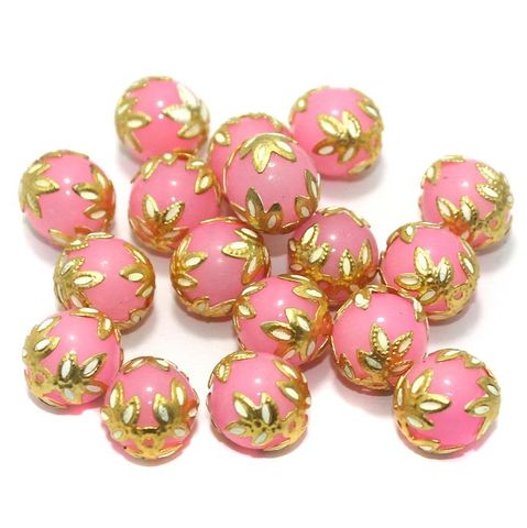 Meenakari Round Beads 12mm Pink