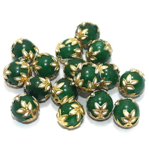 Meenakari Round Beads 12mm Green