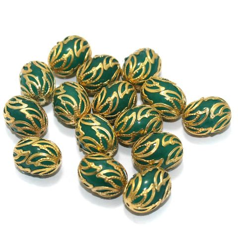 Meenakari Oval Beads 17x13mm Green
