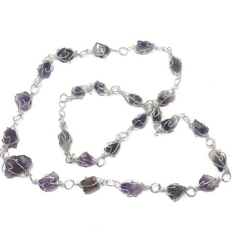 1 String Amethyst Stone Chain 18 Inch