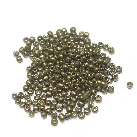 100 Gm Metallic Seed Beads Black Gold 11/0 size