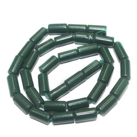 5 Strings of Jaipuri Tube Beads Green 12x6mm