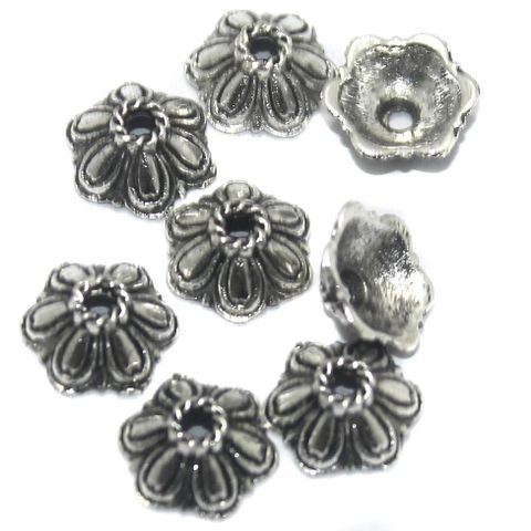 100 Pcs German Silver Bead Caps 10x4 mm