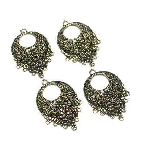 10 Pcs. German Silver Earring Components Golden 43x28 mm