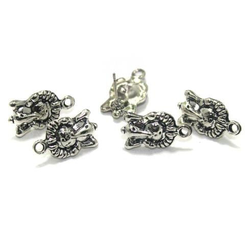 20 Pcs. German Silver Earring Components Silver 20x11 mm