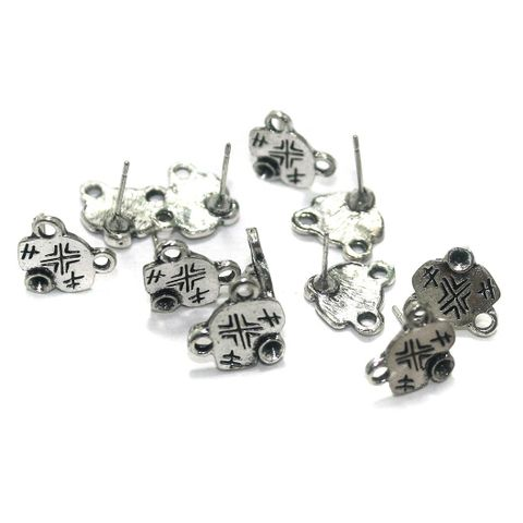 50 Pcs. German Silver Earring Components Silver 12x12 mm