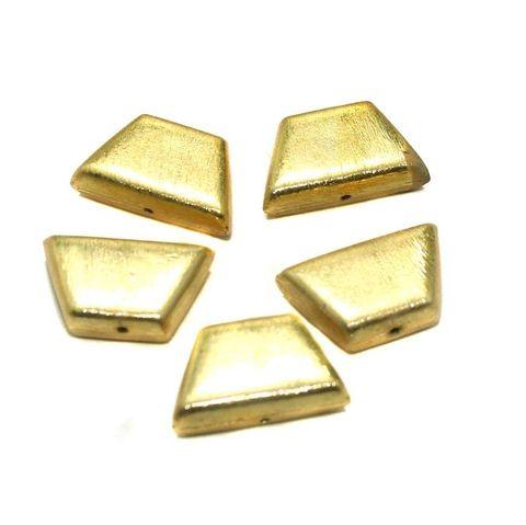 25 Pcs. German Silver Brushed Beads Golden 23x14 mm