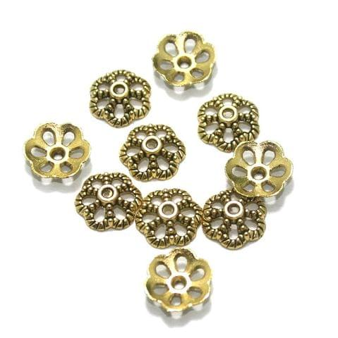 100 Pcs. German Silver Bead Caps Golden 11x3 mm