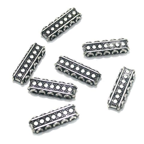 20 Pcs. German Silver Spacer Beads Five Hole Silver 22x7 mm