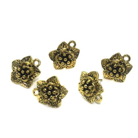 20 Pcs. German Silver Earring Components Golden 17x15 mm