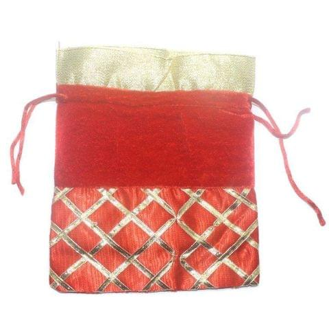 Potli Bags Red for Jewellery Gift & Craft 18x15cm, Pack of 50 pcs