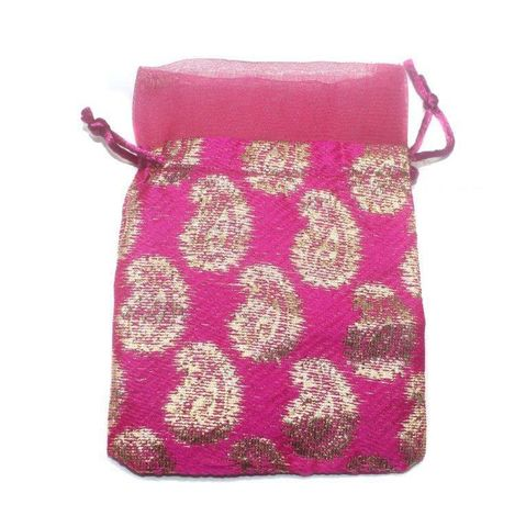 Potli Bags Pink for Jewellery Gift & Craft 14x11cm, Pack of 100 pcs