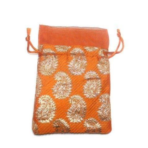 Potli Bags Orange for Jewellery Gift & Craft 14x10cm, Pack of 100 pcs