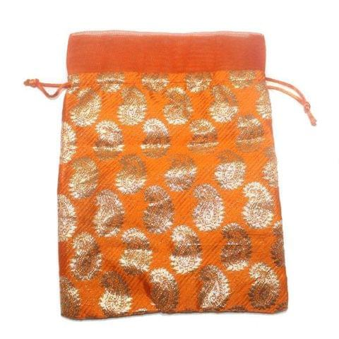 Potli Bags Orange for Jewellery Gift & Craft 24x18cm, Pack of 50 pcs