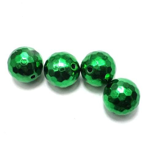 10 Faceted Metallic CCB Round Beads Green 17mm