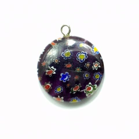 Millefiori Glass Coin Pendant Purple 20 mm