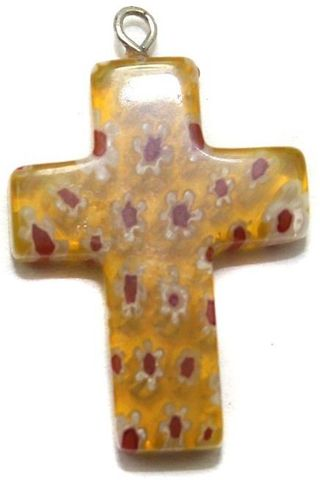 Millefiori Glass Cross Pendant Orange 30x20 mm