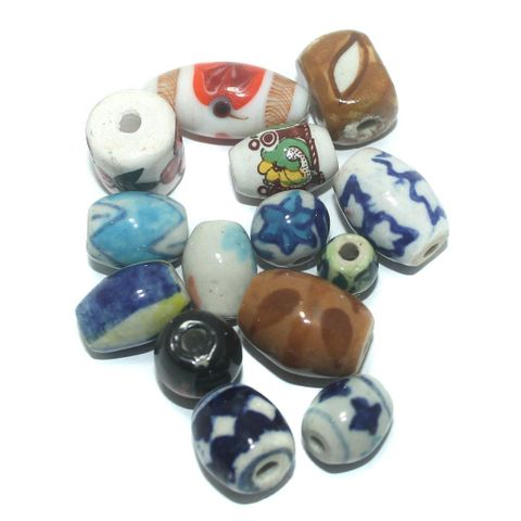25 Pcs. Ceramic Mix Beads Multi Color 29-10 mm
