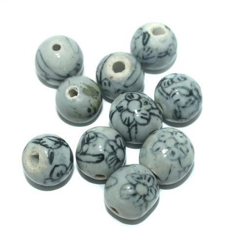 25 Pcs. Ceramic Round Beads Grey 16 mm