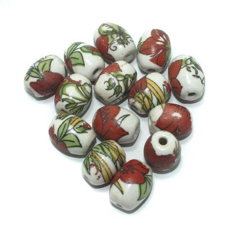 50 Pcs. Ceramic Oval Beads Multi Color 17x14 mm