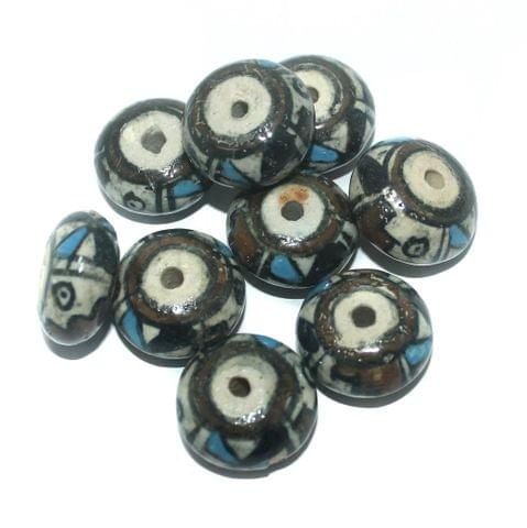 25 Pcs. Ceramic Roundell Beads Brown 21x12 mm