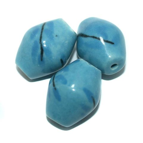 10 Pcs. Ceramic Double Cone Beads Blue 32x27 mm
