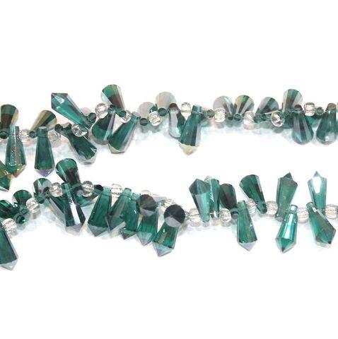 Metallic Pencil Beads Drop 15x8mm 1 String