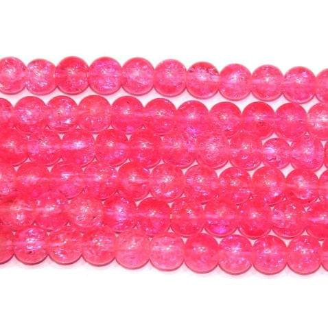 Crackle Beads Round Hot Pink 6mm 10 Strings