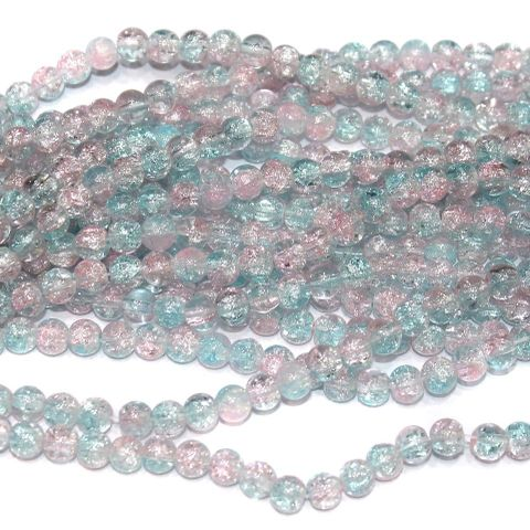 Two Tone Crackle Beads Round Sky Blue 6mm 5 Strings