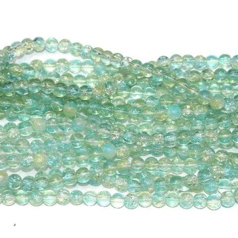Two Tone Crackle Beads Round Sea Green 6mm 5 Strings