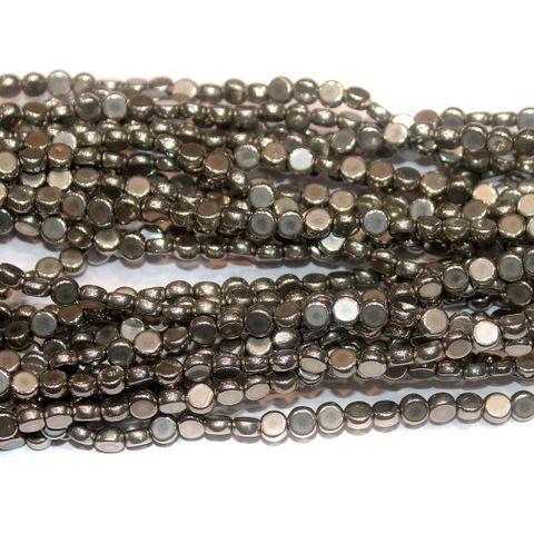 Metallic Press Beads 6mm Flat Round 10 Strings