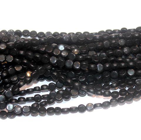 Black Press Beads 6mm Flat Round 10 Strings