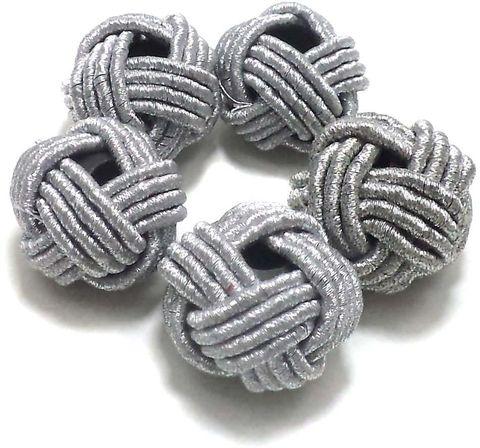 10 Crochet Round Beads Silver 24 mm
