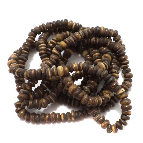 5 Strings Bone Roundell Beads 6x4 mm